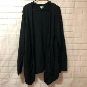 J. Jill Black Solid Wool Silk Blend Cozy Cardigan